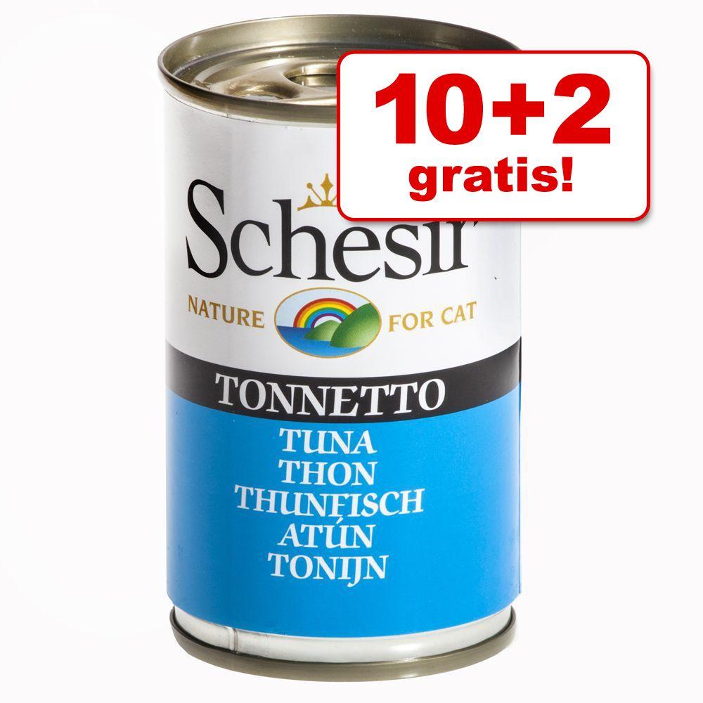 10 + 2 på köpet! Schesir 12 x 140 g - Tonfisk & nötkött i gelé