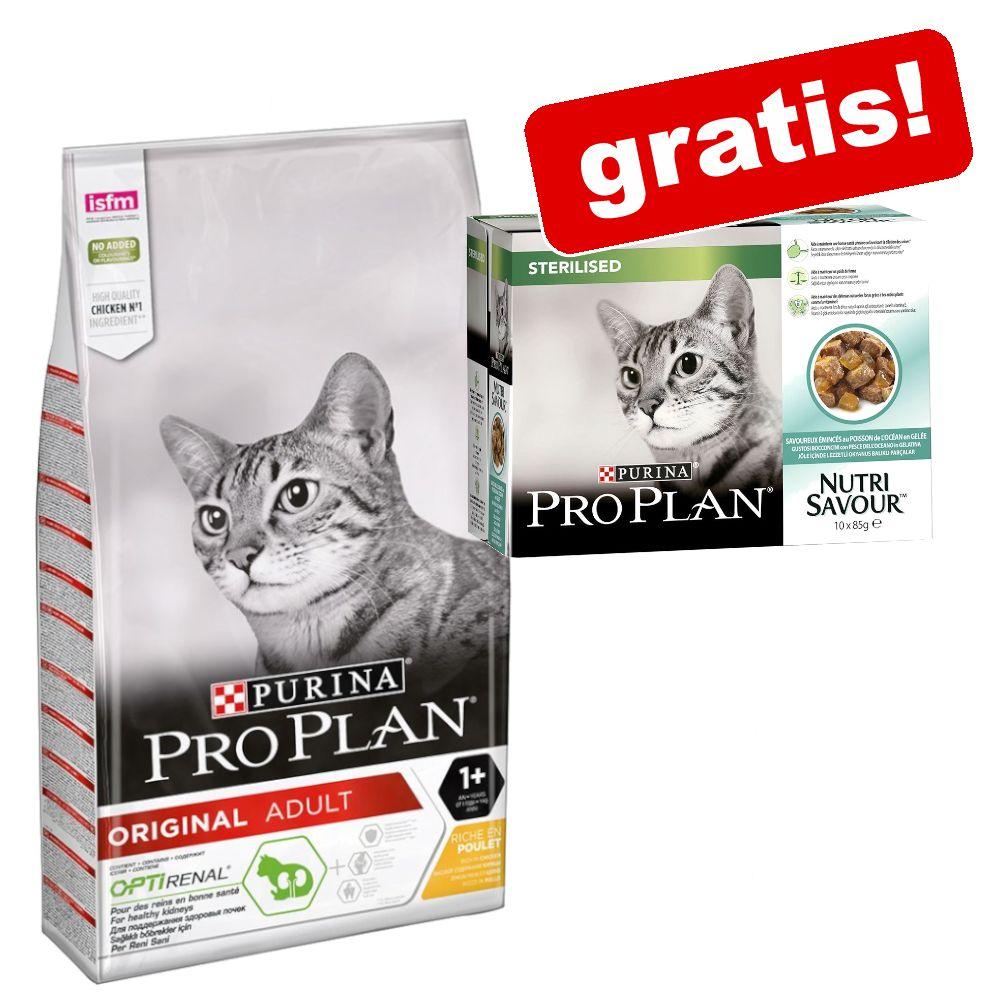 10 kg PRO PLAN torrfoder + 10 x 85 g Nutrisavour Sterilised på köpet! - Original Adult Rich in Chicken