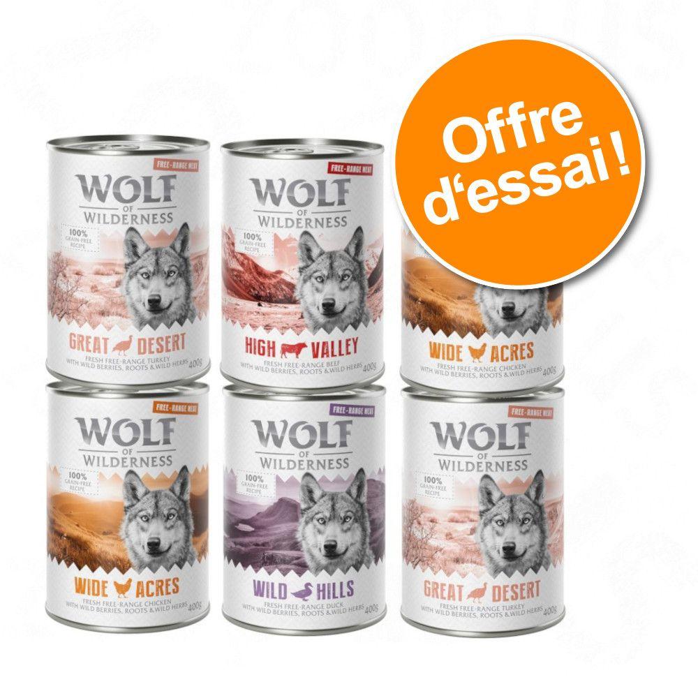 Offre découverte lot mixte Wolf of Wilderness Adult Free Range : 15 % de remise ! - 6 x 400 g