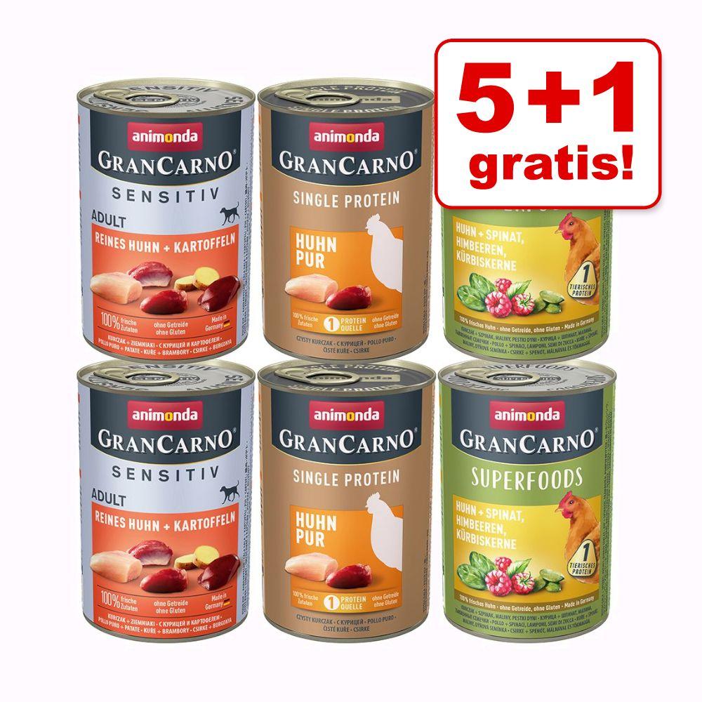 5 + 1 gratis! 6 x 400 g Animonda GranCarno Adult Monoprotein - Mix Huhn