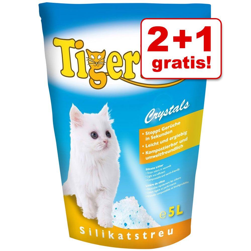2 + 1 gratis! 3 x 5 l Tigerino Crystals Katzenstreu - Crystals Fresh - klumpendes Katzenstreu