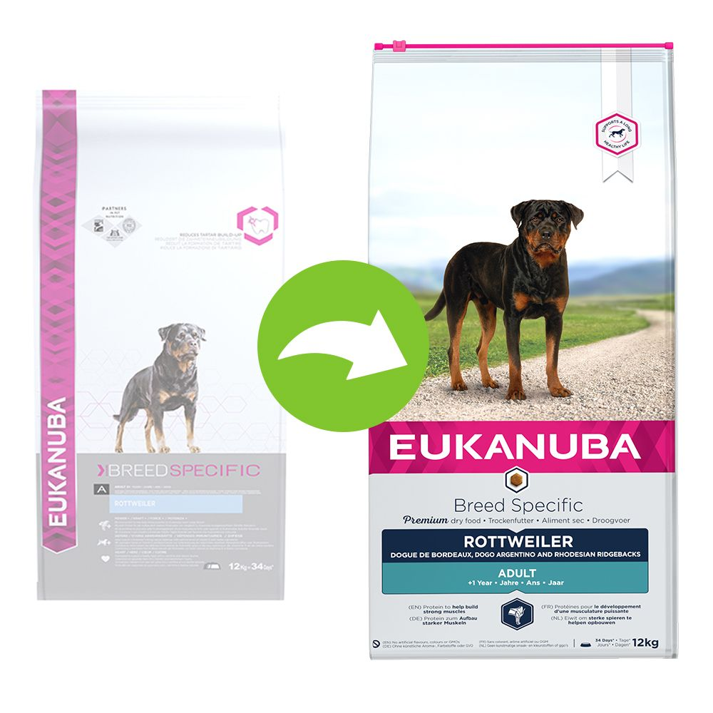 12kg Adult Breed Specific Rottweiler Eukanuba - Croquettes pour chien