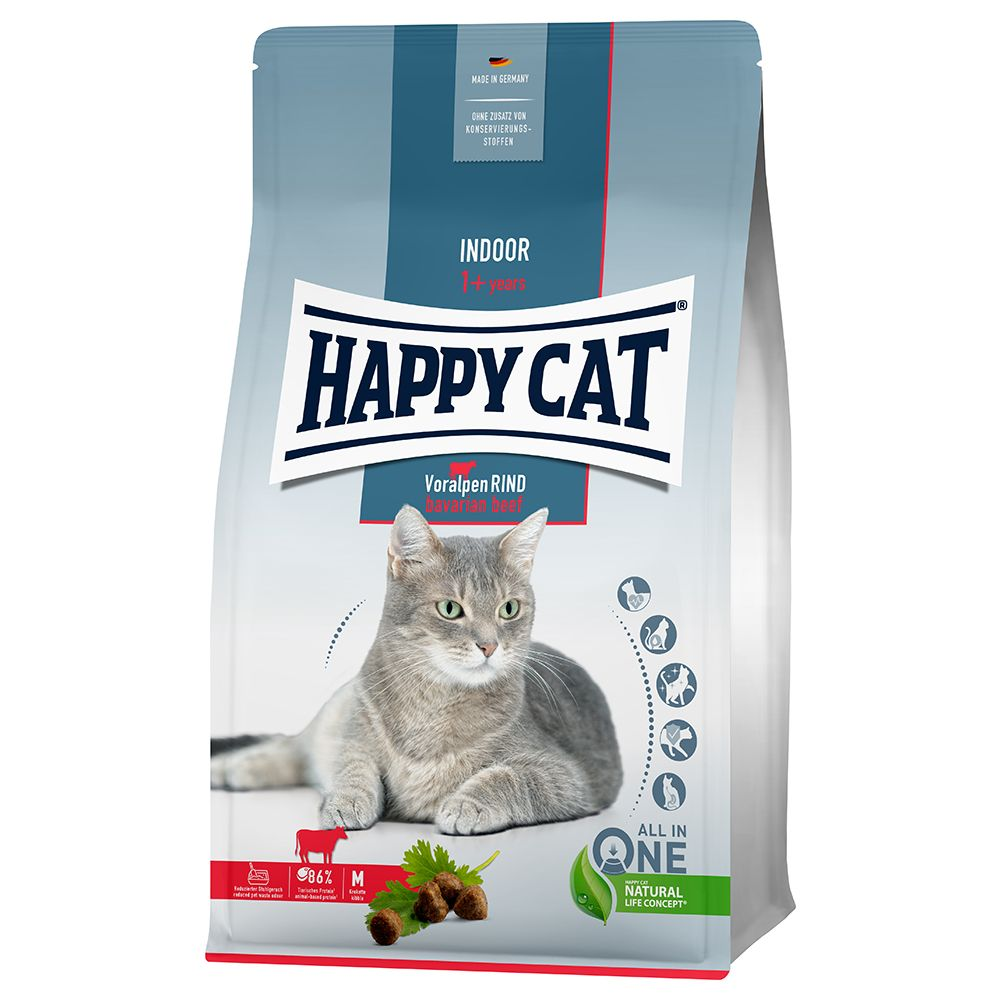 Happy Cat Indoor Voralpen-Rind - Sparpaket: 2 x 4 kg