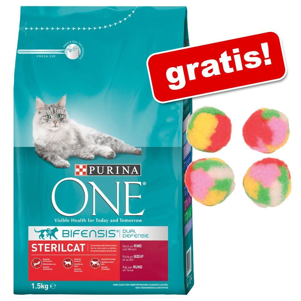 Purina One 1,5 kg lub 2 x 800 g + Trixie piłeczki pompony dla kota gratis! - Z formułą Indoor, 1,5 kg