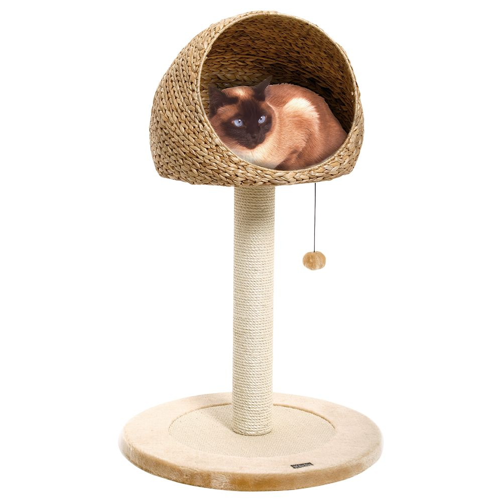 Banana Leaf Little Den Scratching Post - Natural Beige