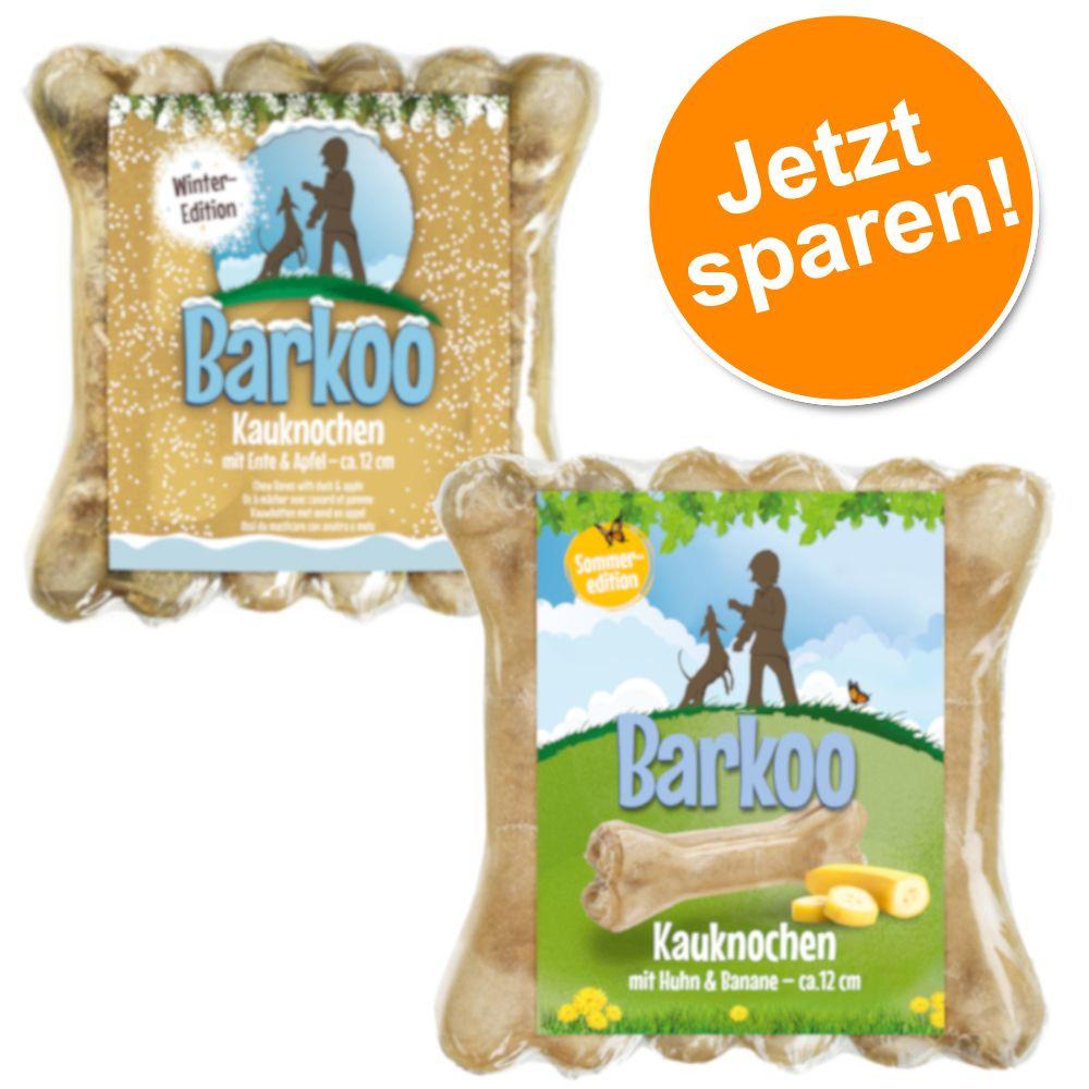 Barkoo Kauknochen Summer-Winter-Edition: mit Huhn & Banane + Ente & Apfel - 12 x 12 cm