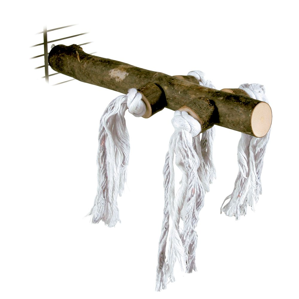 Natural Perch With Play Rope - Length 25cm, Diameter approx. 25mm