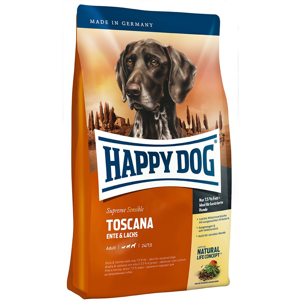 Happy Dog Supreme Sensible Toscana is a dry feed for adult dogs with normal energy requirements. The exclusive recipe with select, wholesome ingredients is particu...