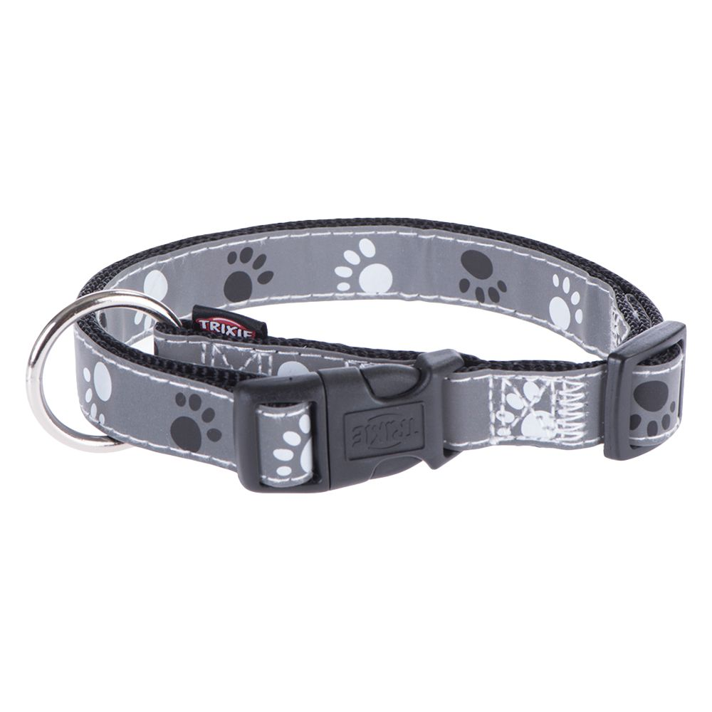 Trixie Reflective Paws Dog Collar - Silver - Size S-M