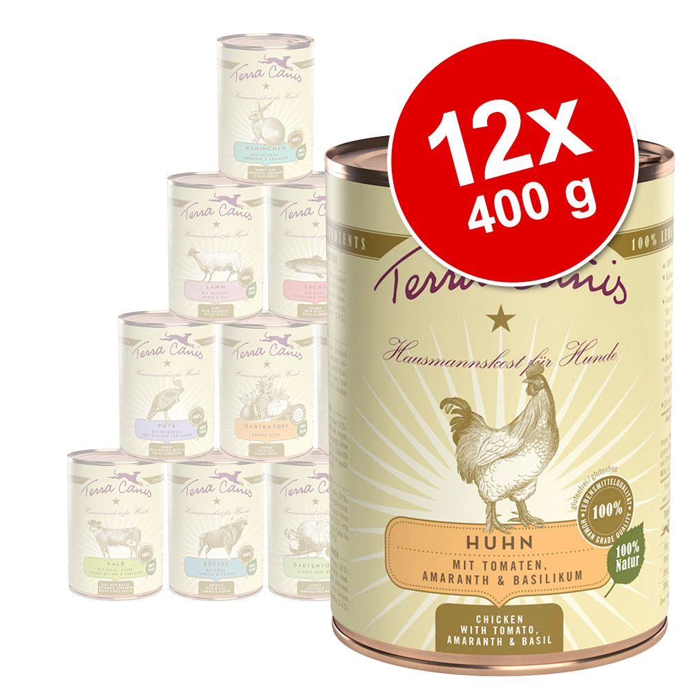 12 x 400 g Terra Canis Schlemmerpaket Menü, 6 Sorten