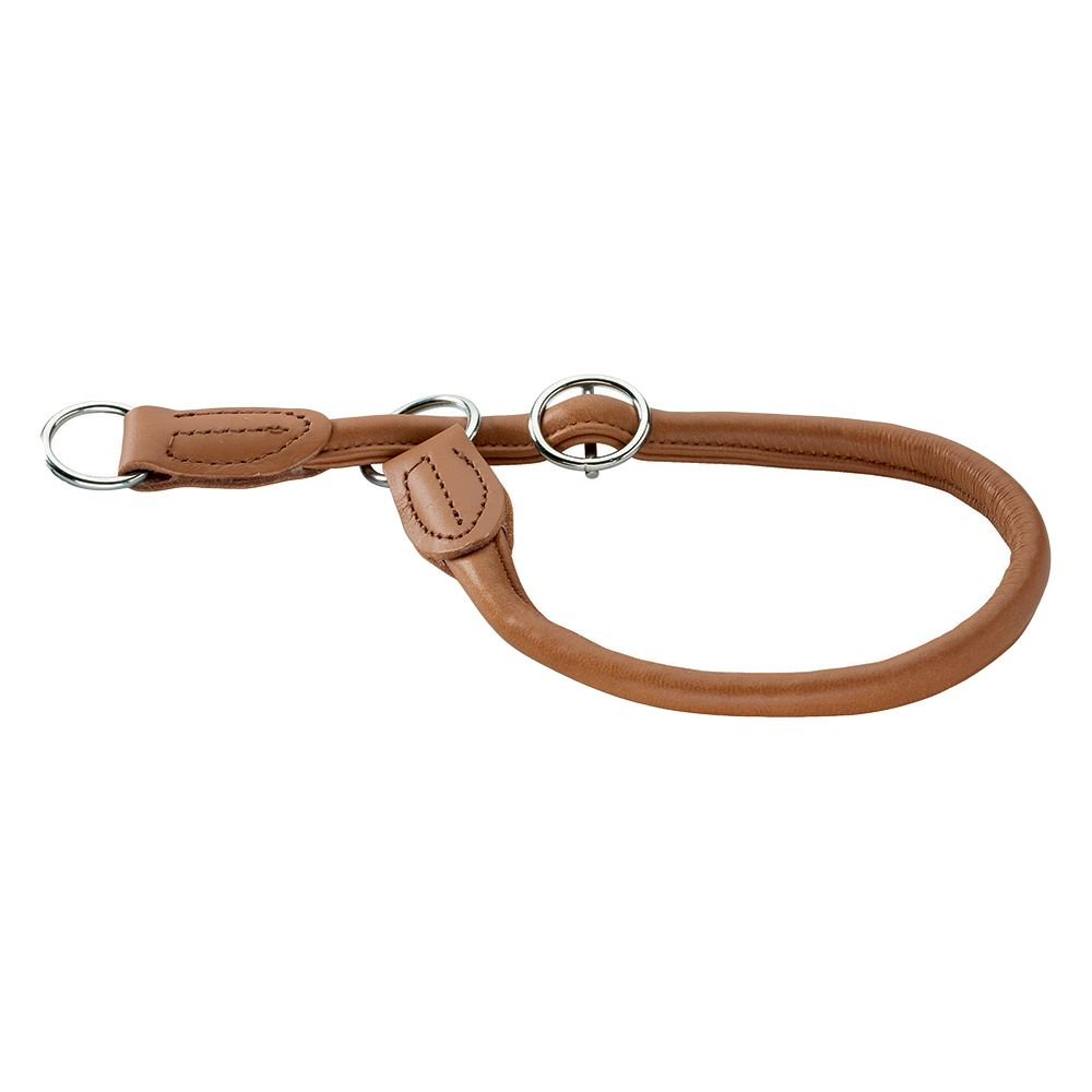 Hunter Round & Soft Elk Leather Dog Collar Cognac