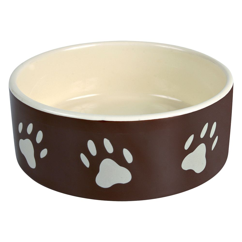 Trixie Brown Ceramic Bowl with Paw Prints - 0.8 litre