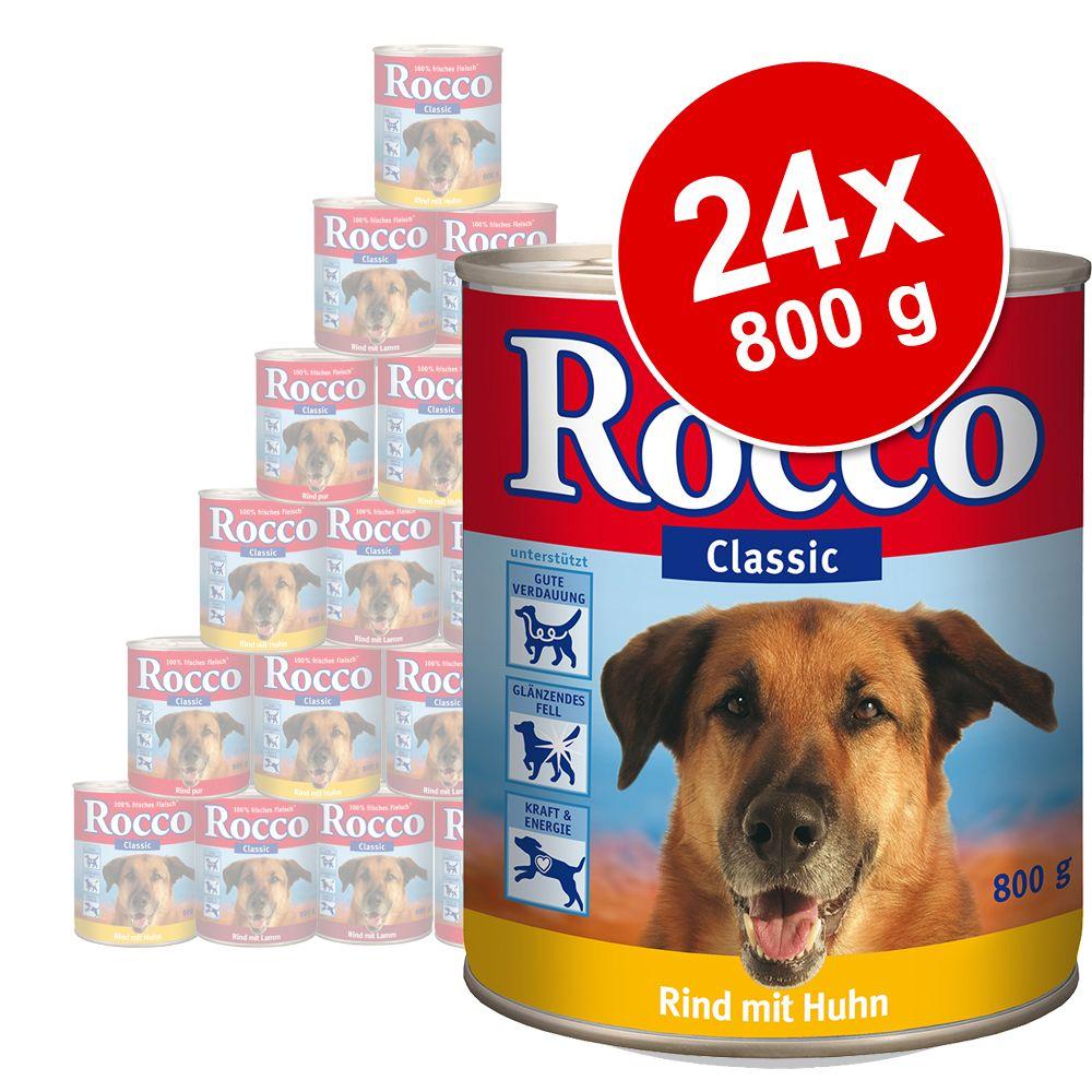 Megapakiet Rocco Classic, 24 x 800 g - Wołowina z zielonymi żwaczami