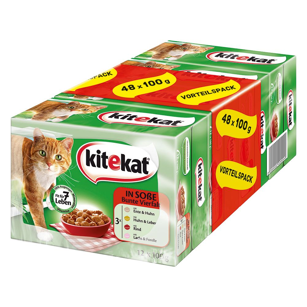Kitekat Variety Pouches Megapack 48 x 100g - Colourful Mix in Gravy