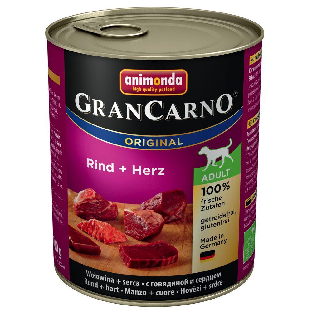 Animonda GranCarno Original Adult, 6 x 800 g - Wołowina z sercami