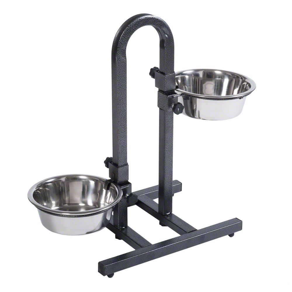 U-Shaped Dog Bowl Stand with Stainless Steel Bowls