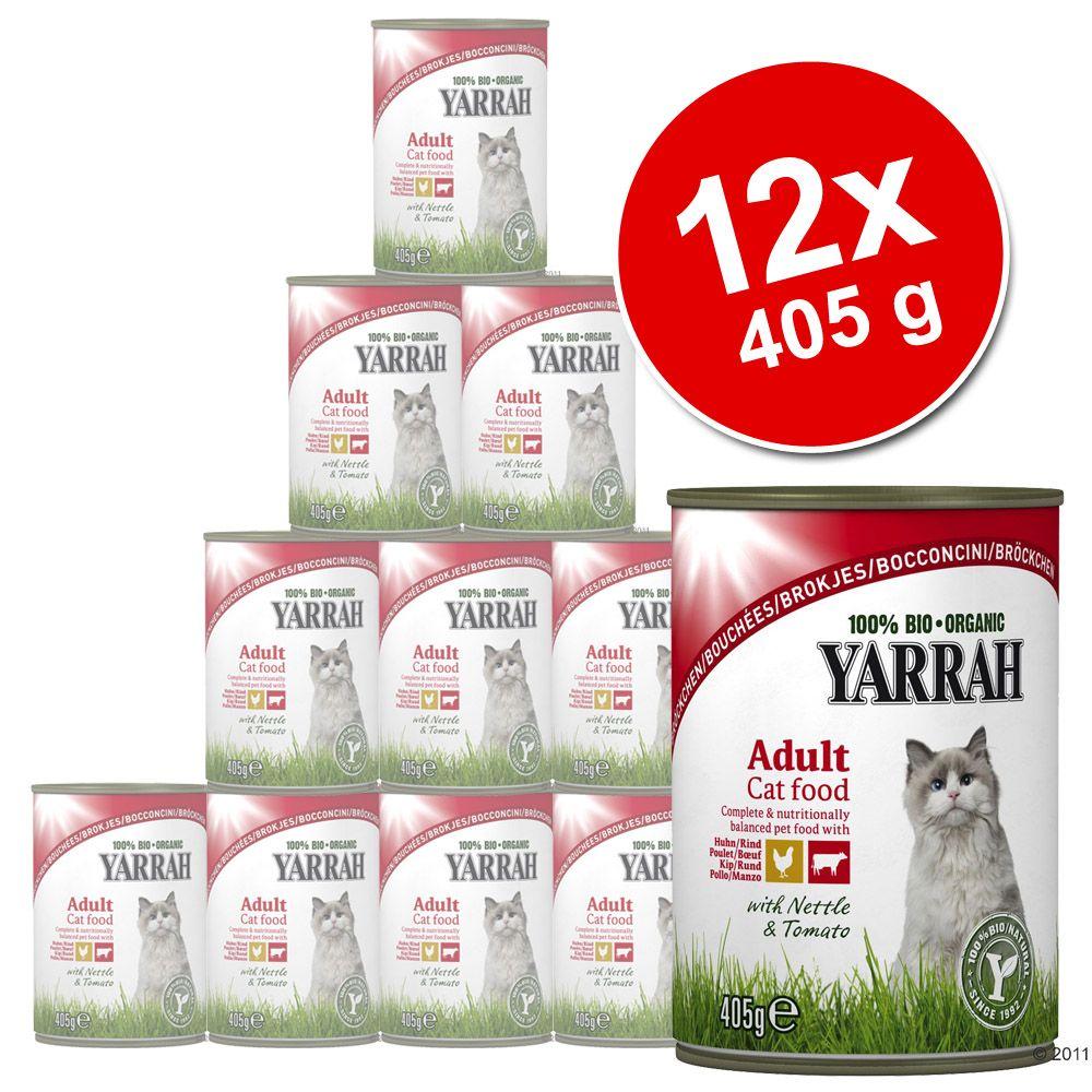 Korzystny pakiet Yarrah Bio kawałeczki, 12 x 405 g - Kurczak i wołowina