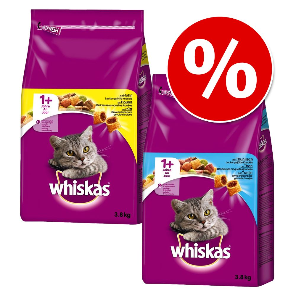 Blandpack: Whiskas 1+ 2 x 3,8 kg - Tonfisk + Lamm