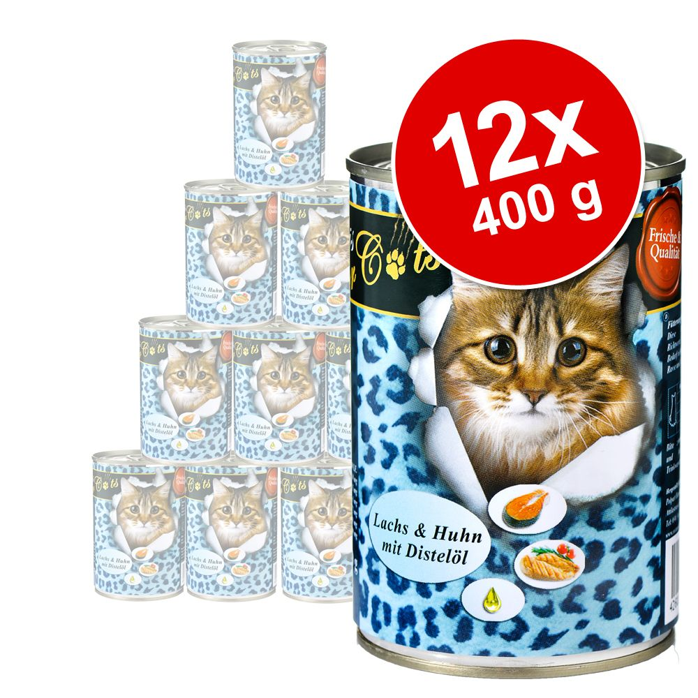Sparpaket O´Canis for Cats 12 x 400 g - Huhn, Lachs & Distelöl