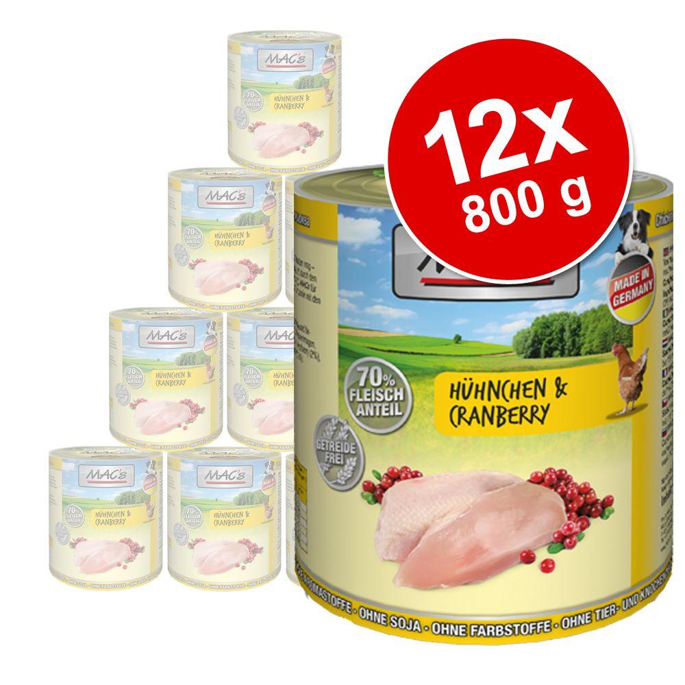 Ekonomipack: MAC's Adult 12 x 800 g - Huvudkött & morötter
