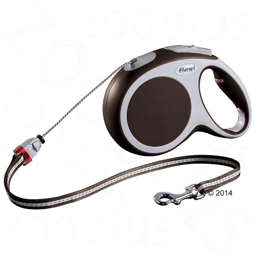 Smycz dla psa Flexi Vario M brązowa, 8 m - Lampka LED-Lighting-System