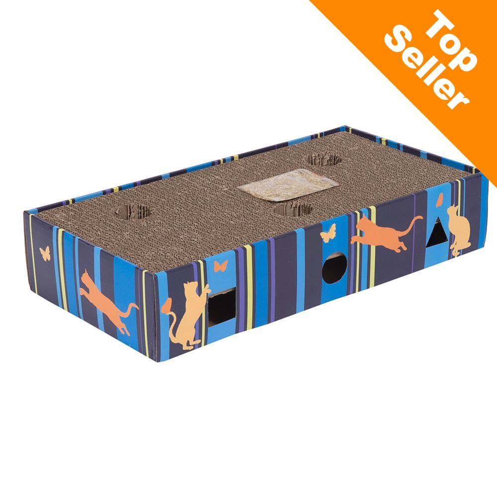 Scratch & Play drapak dla kota - Dł. x szer. x wys.: 45,5 x 24 x 9,3 cm | 2 piłki