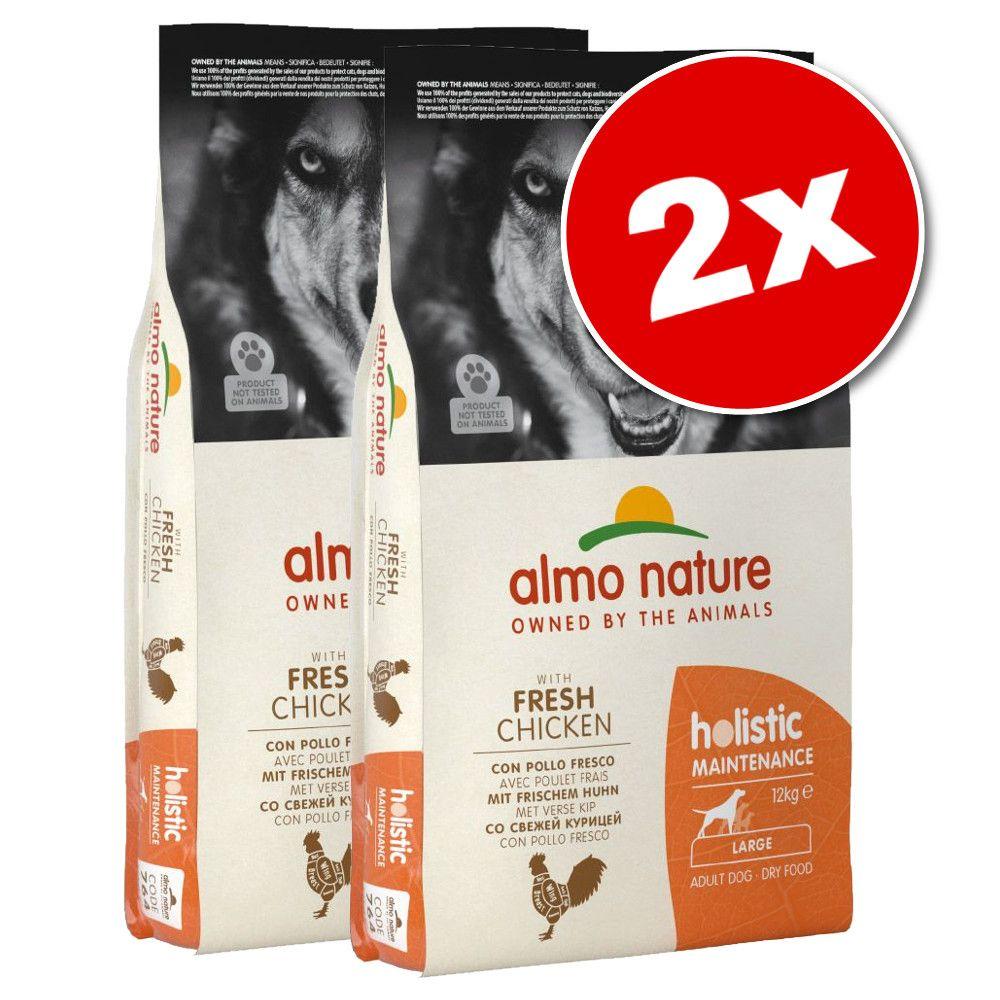 2x12kg Adult Large poulet, riz Almo Nature Holistic - Croquettes pour chien