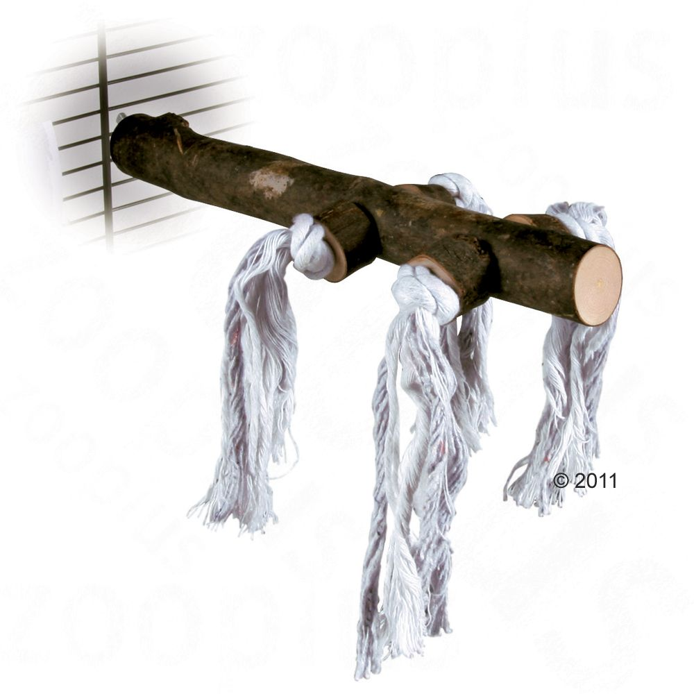 Perchoir naturel pour oiseaux avec corde de jeu - L 25 x 2,5 cm de diamètre