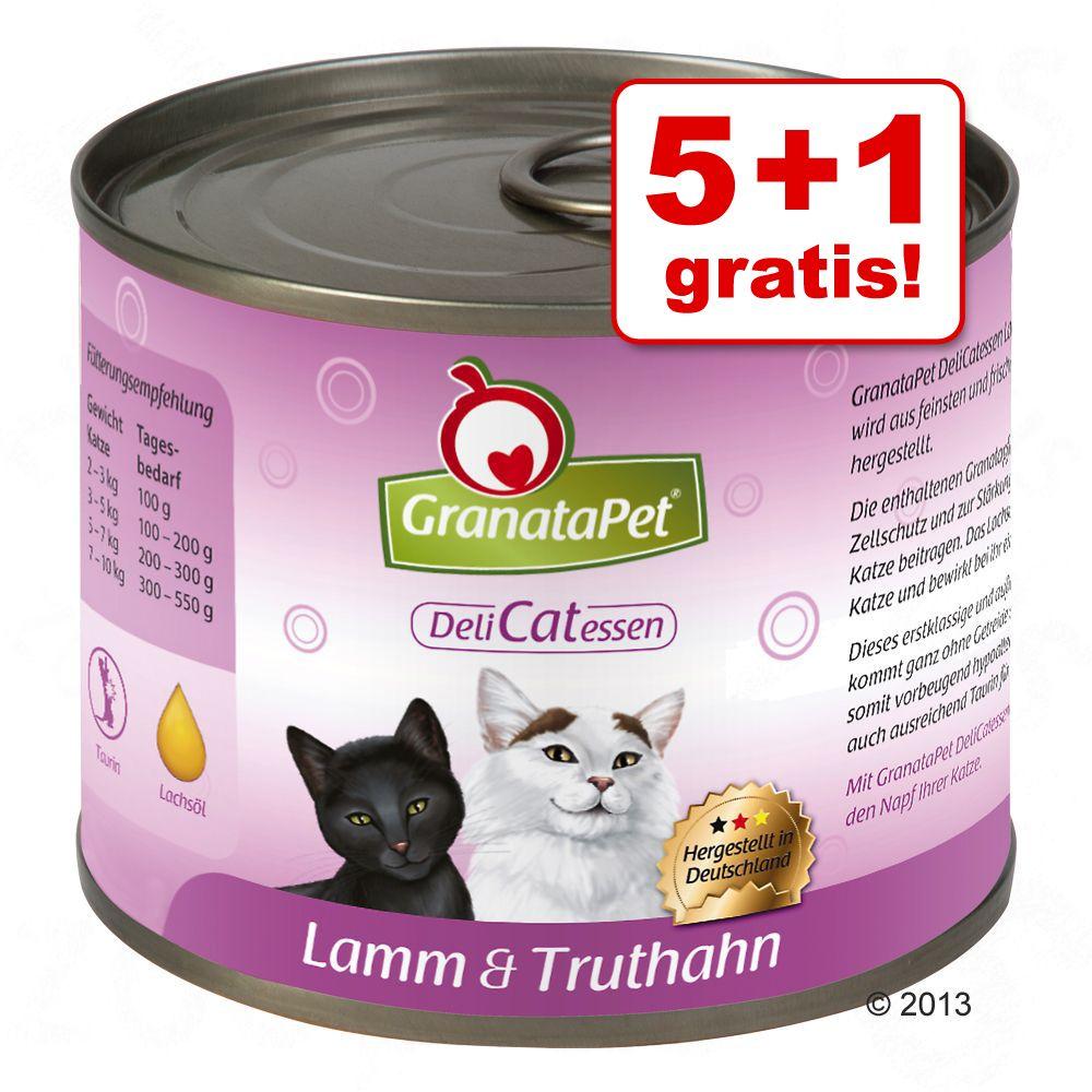 5 + 1 gratis! 6 x 200 g GranataPet DeliCatessen - Seelachs & Pute