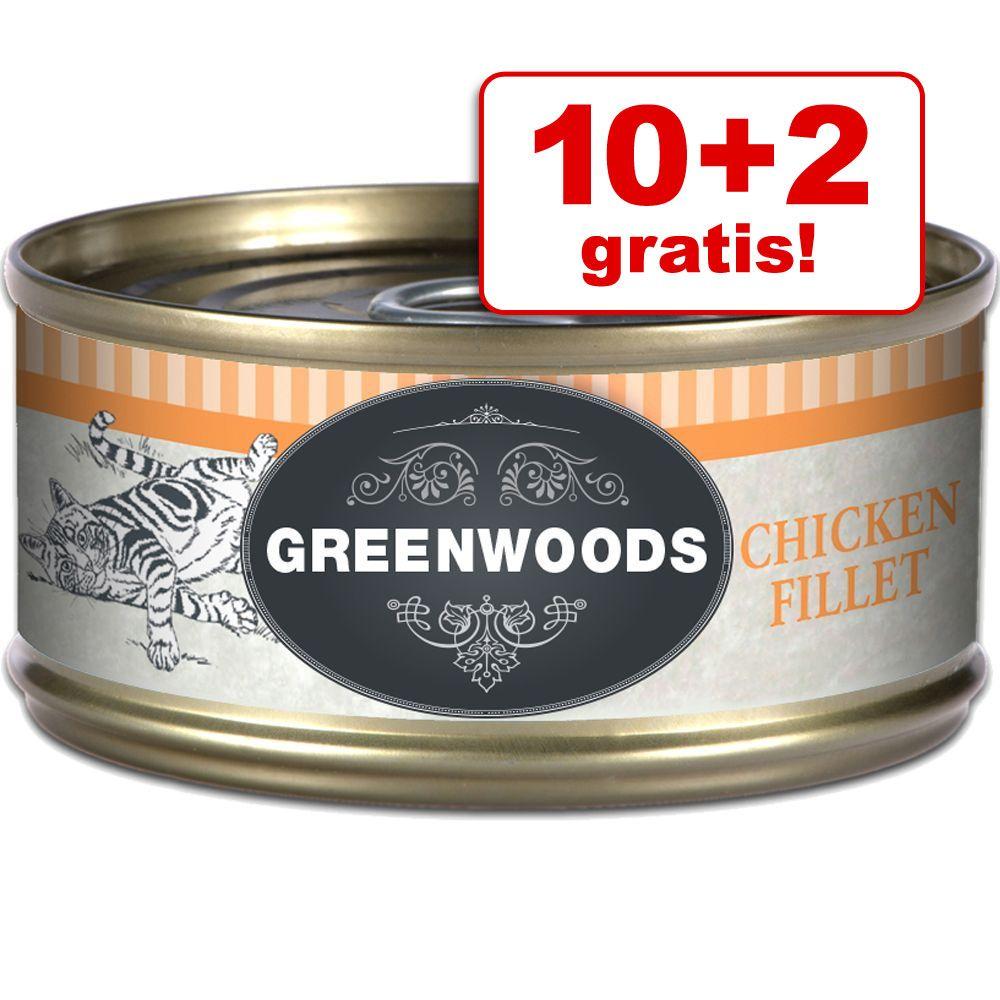 10 + 2 gratis! Greenwoods karma dla kota Adult, 12 x 70 g - Tuńczyk i krewetki