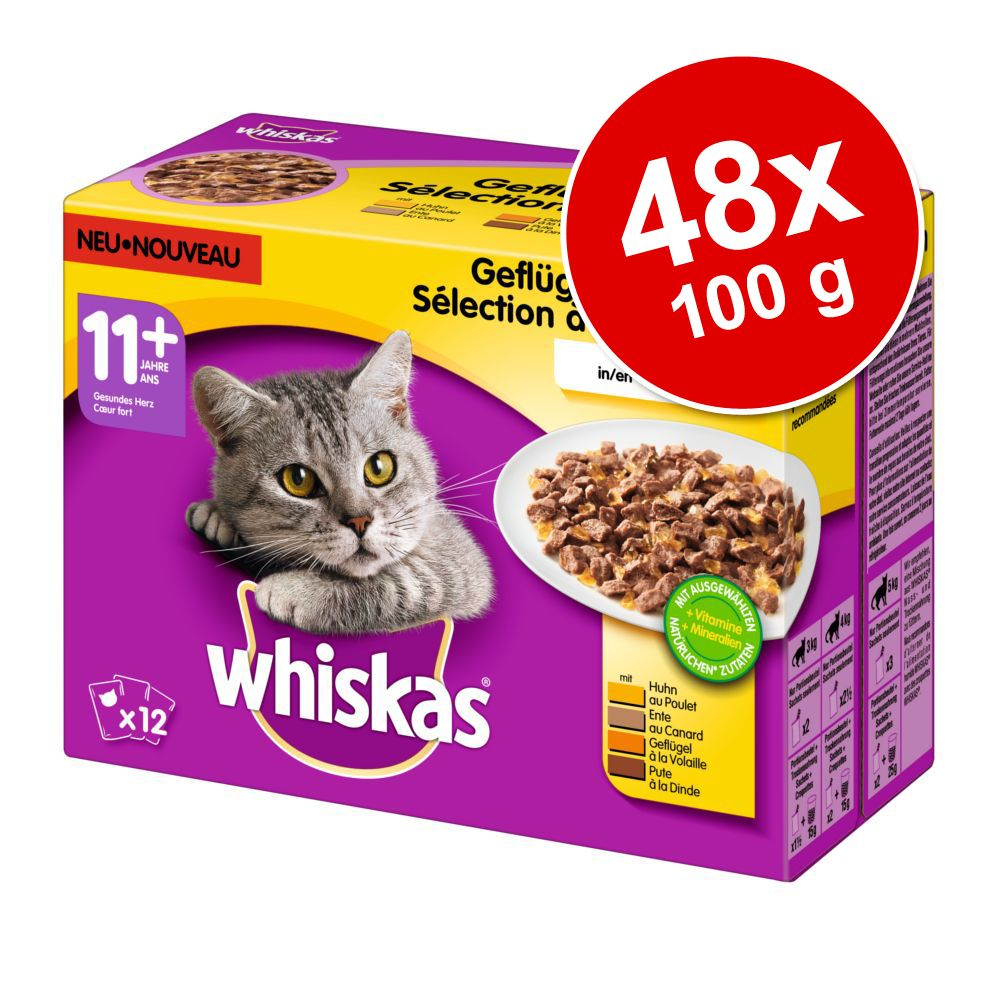 Ekonomipack: Whiskas 11+ portionspåse 48 x 100 g Fågelurval i gelé