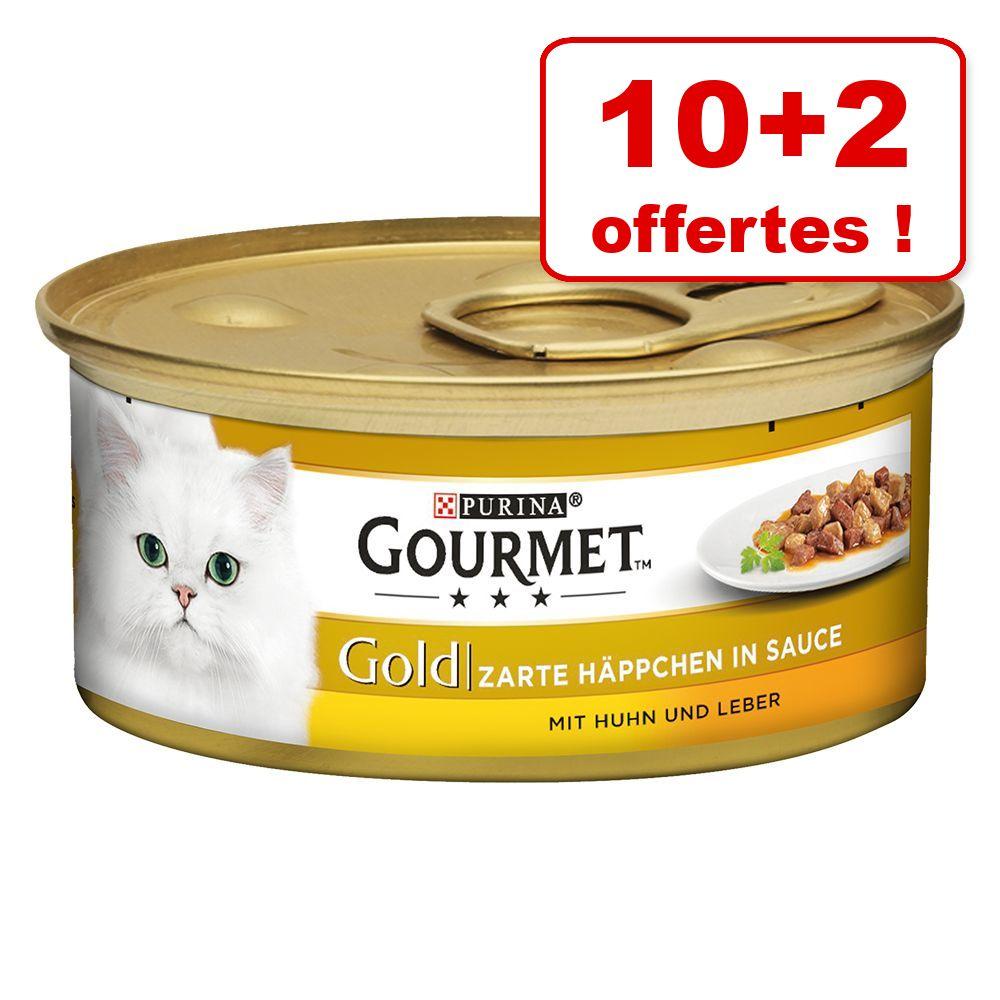 Gourmet Gold 10 x 85 g + 2 boîtes offertes ! - Recettes raffinées, Duo : bœuf, poulet