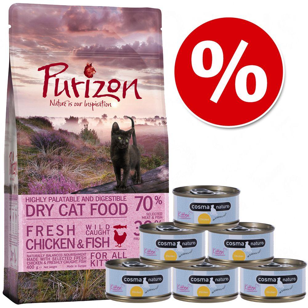 Provpack Kitten: Purizon 400 g & Cosma Nature 6 x 70 g - Purizon + Cosma med kyckling & tonfisk