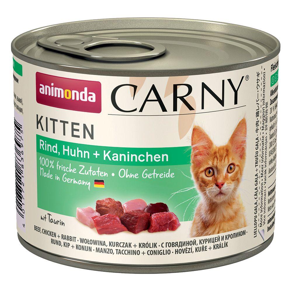 Animonda Carny Kitten 6 / 12 x 200 g - 12 x 200 g Blandpack: Nötkött & fjäderfä + Nötkött, kalv & kyckling
