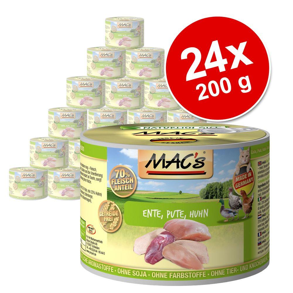 Megapakiet MAC´s Cat karma dla kota, 24 x 200 g - Łosoś & kurczak