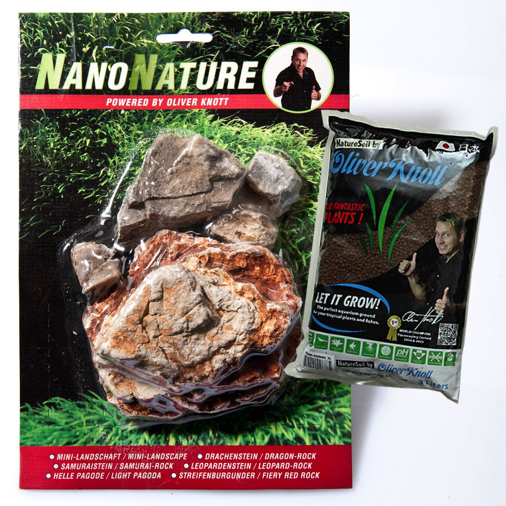 Kit de pierres pagode claires pour aquarium NanoNature - 5 pierres + 3 litres de substrat brun, fin