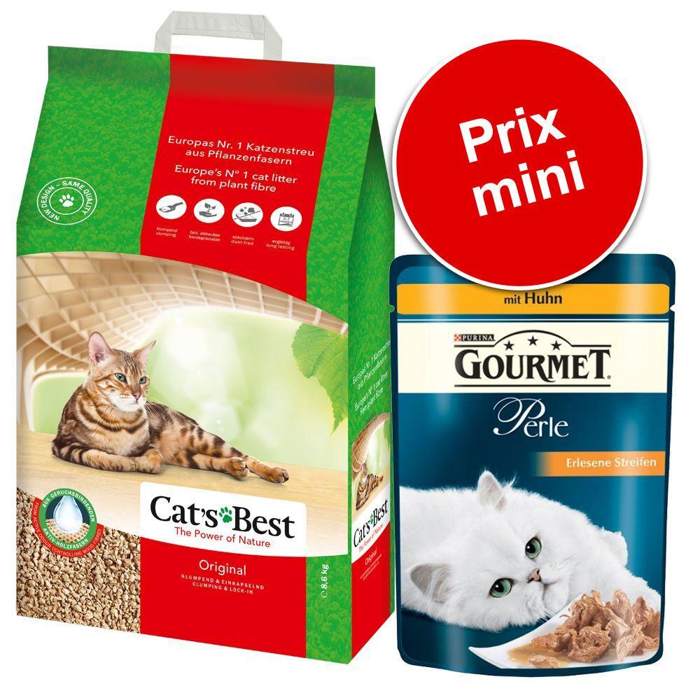 Pack malin : 20 L de litière Cat's Best Original + sachets Gourmet Perle, lamelles de poulet - litière Cat's Best Öko Plus (20 L) + Gourmet Perle (24 x 85 g)