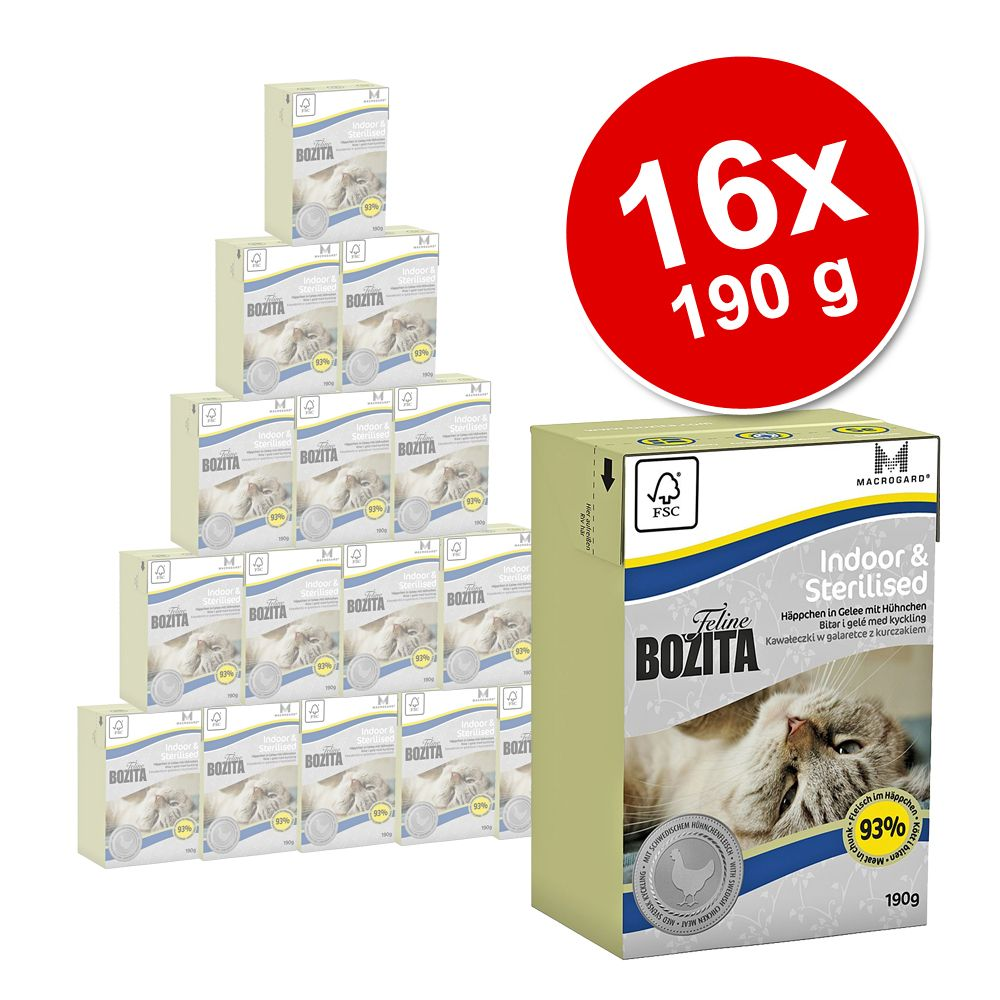 Megapakiet Bozita Feline w galarecie , 16 x 190 g - Indoor & Sterilised
