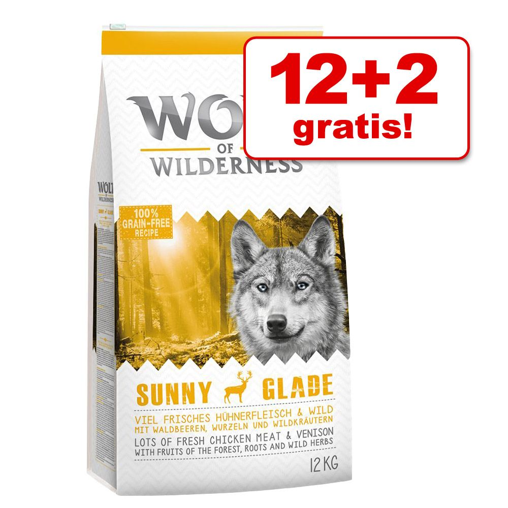12 + 2 kg gratis! Wolf of Wilderness karma sucha dla psa, 14 kg - Adult Green Fields, jagnięcina