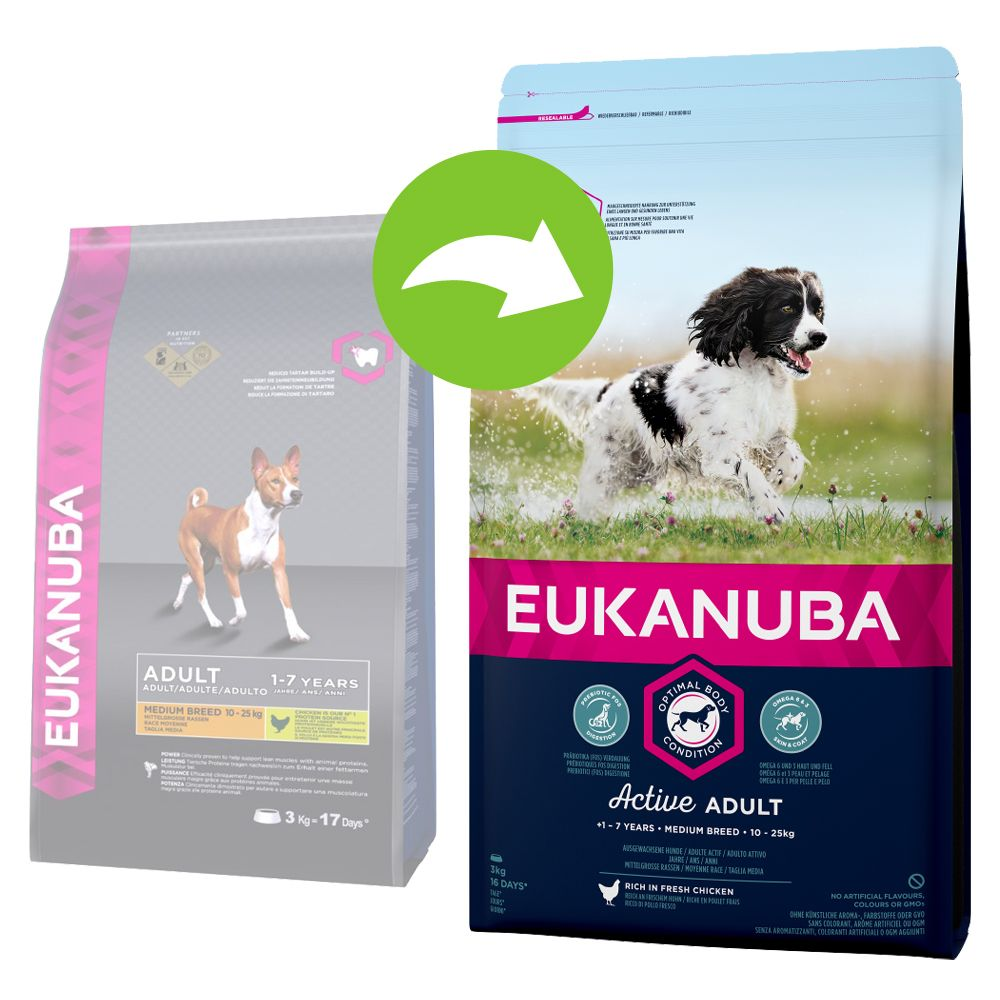 Image of Eukanuba Active Adult Medium Breed Huhn - 15 kg