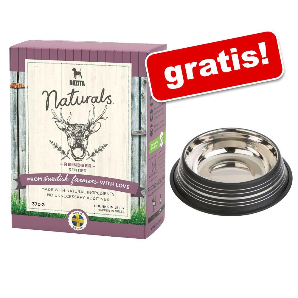 12 x 370 g Bozita Naturals w galarecie + Silver Line, miska ze stali szlachetnej gratis! - Renifer