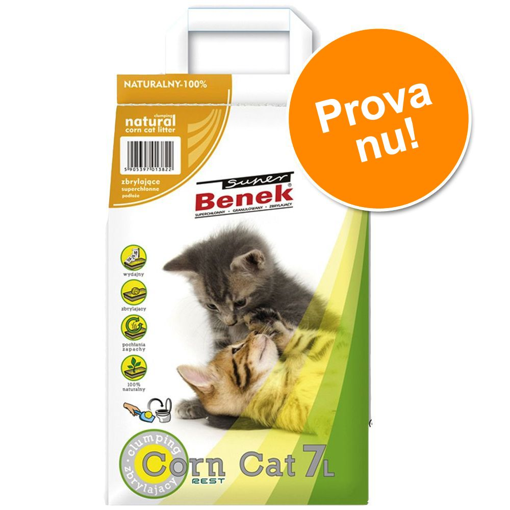 Provpack: 7 l Super Benek kattsand - Corn Cat Natural
