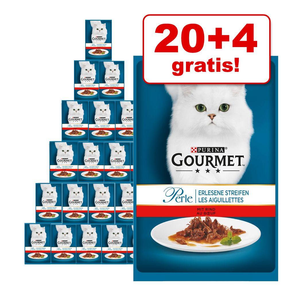 20 + 4 på köpet! 24 x 85 g Gourmet Perle - Delikata strimlor med kalv & grönsaker