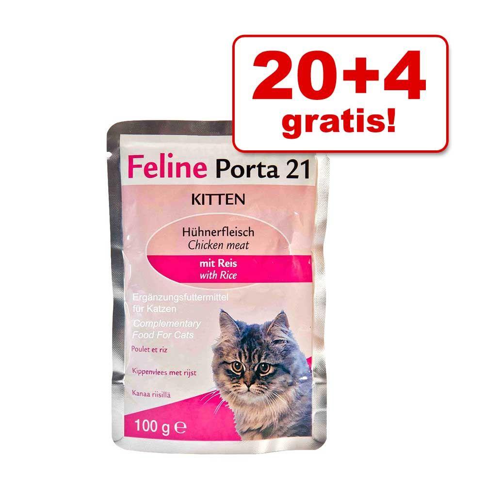 20 + 4 gratis! Feline Porta 21, 24 x 100 g - Kurczak w sosie własnym