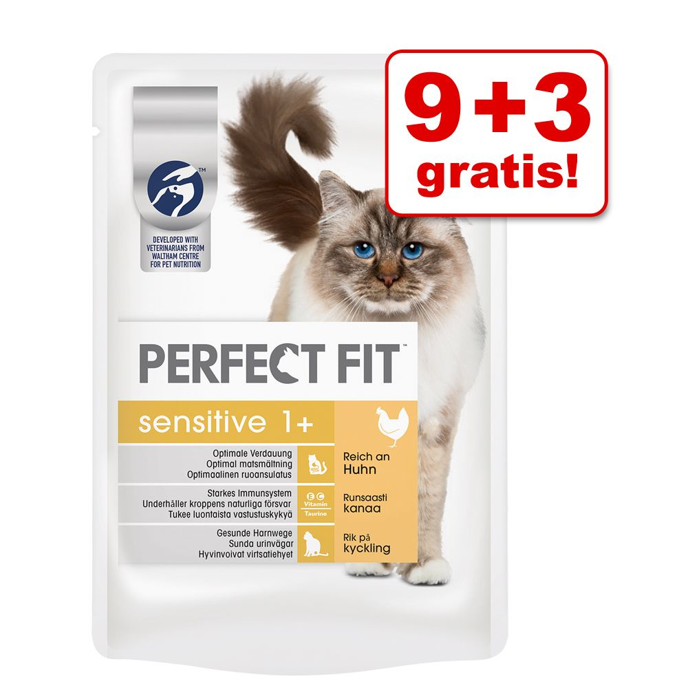 9 + 3 gratis! Perfect Fit, 12 x 85 g - Sensitive, z kurczakiem w sosie