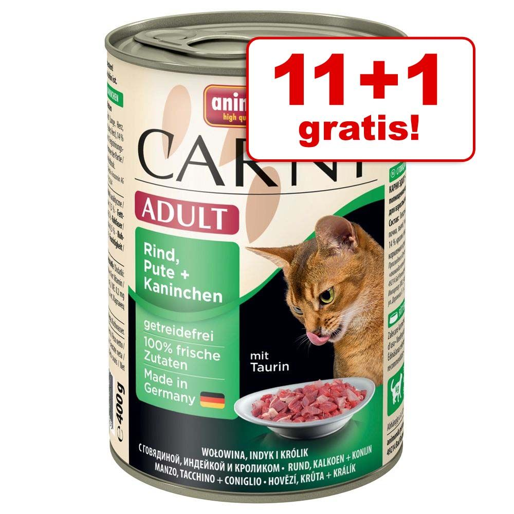 11 + 1 gratis! Animonda Carny Adult, 12 x 400 g - Koktajl wielomięsny