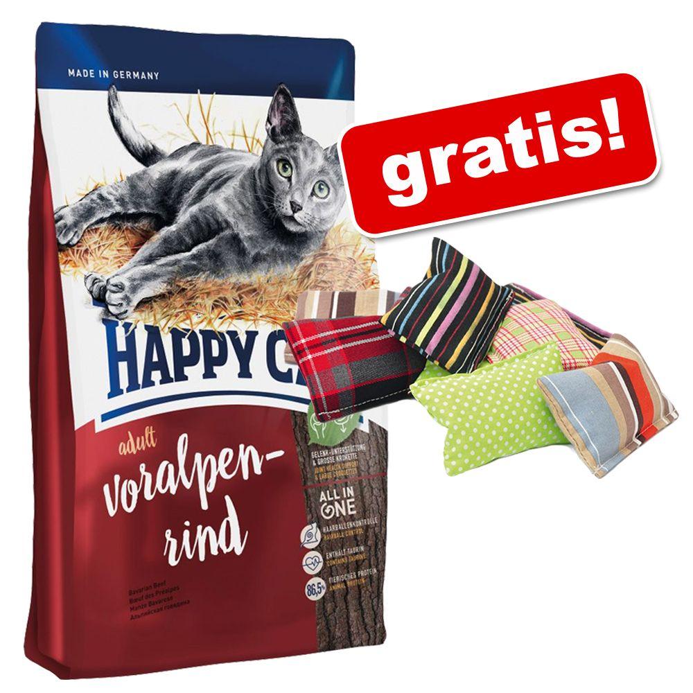 10 kg Happy Cat Katze Trockenfutter mit Voralpen-Rind + 2 Kissen gratis