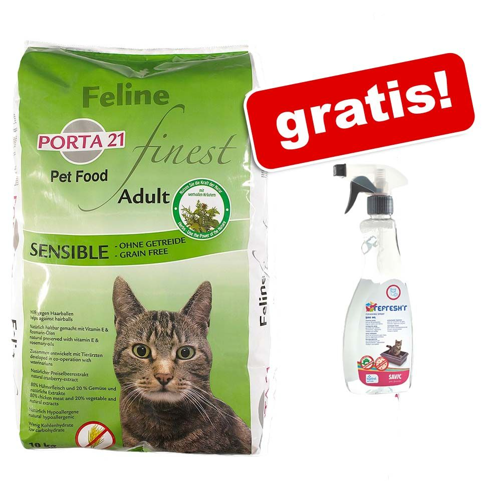 10 kg Porta 21 + Savic Refresh'R Household Cleaning Spray gratis! - Feline Finest Sensible, bez zbóż