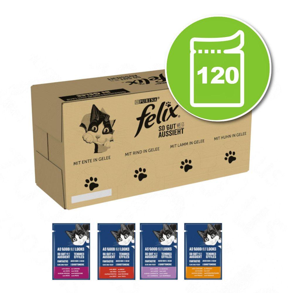 120x100g bœuf, poulet, cabillaud, thon Tendres Effilés - Felix - Nourriture pour Chat