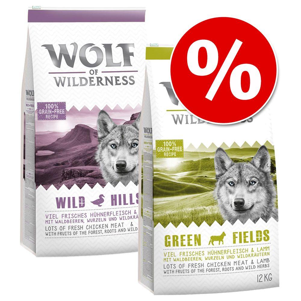 Blandat ekonomipack: 2 x 12 kg Wolf of Wilderness hundmat - Green Fields + Sunny Glade